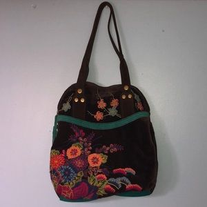Lucky Brand Suede Embroidered Purse